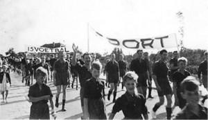 Optocht naar Slobbengors 1955